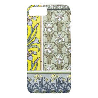 Vintage Art Nouveau, Garden Iris Flowers iPhone 7 Case