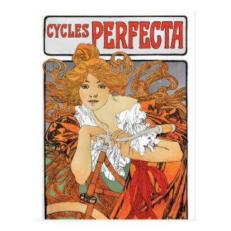 Vintage Art Nouveau Girl Cyclist Postcard