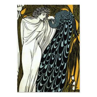 Vintage Art Nouveau Greek Woman Peacock Wedding 13 Cm X 18 Cm Invitation Card