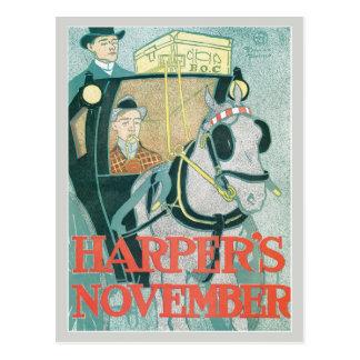 Vintage art nouveau Harper's magazine November Postcard
