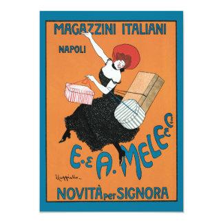Vintage Art Nouveau, Italian Women Fashion 13 Cm X 18 Cm Invitation Card