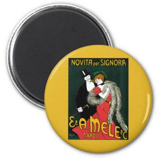 Vintage Art Nouveau, Italy Fashion Couple 6 Cm Round Magnet