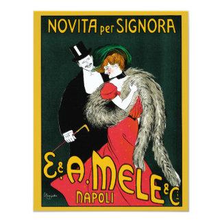 Vintage Art Nouveau, Italy Fashion Couple 11 Cm X 14 Cm Invitation Card