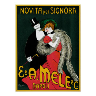 Vintage Art Nouveau, Italy Fashion Couple Poster