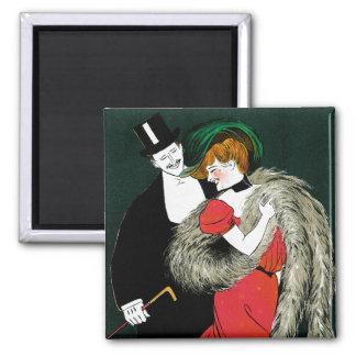 Vintage Art Nouveau, Italy Fashion Couple Square Magnet