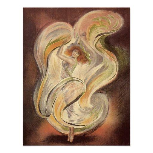 Vintage Art Nouveau, La Loie Fuller Dancer Dancing Personalized Announcement