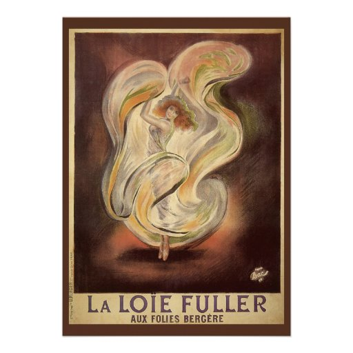 Vintage Art Nouveau, La Loie Fuller Dancer Dancing Announcements