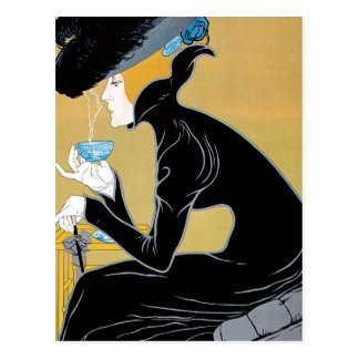 Vintage Art Nouveau, Lady Drinking Marco Polo Tea Postcard