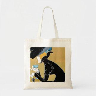 Vintage Art Nouveau, Lady Drinking Marco Polo Tea Tote Bag