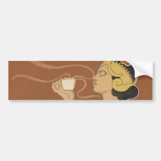 Vintage Art Nouveau, Lady Drinking Tea Cafe Rajah Bumper Stickers