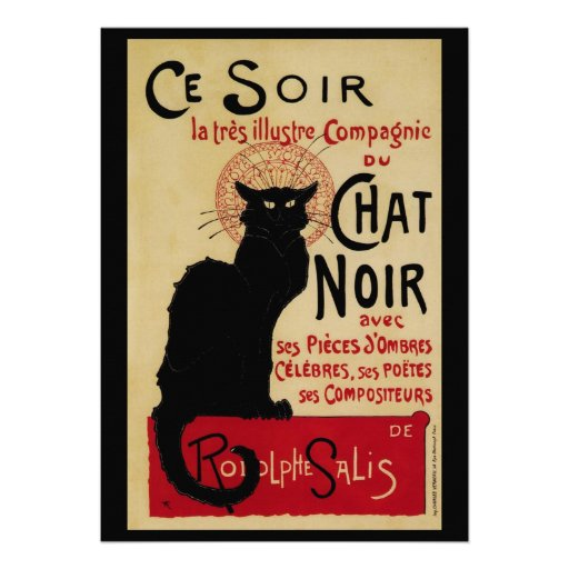 Vintage Art Nouveau, Le Chat Noir Invitations