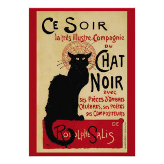 Vintage Art Nouveau Le Chat Noir Invitation