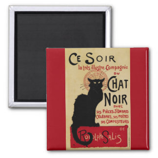 Vintage Art Nouveau, Le Chat Noir Square Magnet