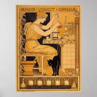 Vintage Art Nouveau, Love Conquers All Scientist Poster