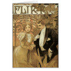 Vintage Art Nouveau Love Romance, Flirt by Mucha Card