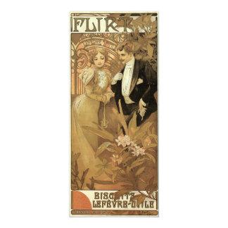Vintage Art Nouveau Love Romance, Flirt by Mucha 10 Cm X 24 Cm Invitation Card