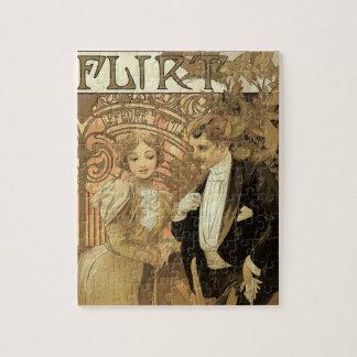 Vintage Art Nouveau Love Romance, Flirt by Mucha Jigsaw Puzzle