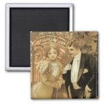 Vintage Art Nouveau Love Romance, Flirt by Mucha Square Magnet