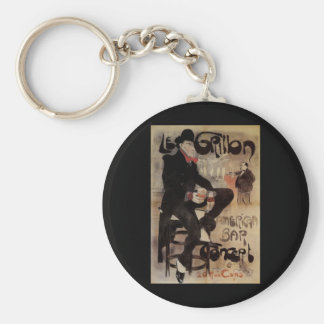 Vintage Art Nouveau Man Drinking Beer American Bar Key Chain