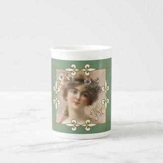 Vintage Art Nouveau Monogram Victorian Woman Tea Cup