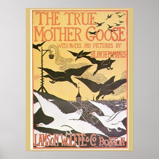Vintage Art nouveau Mother Goose advert Poster | Zazzle