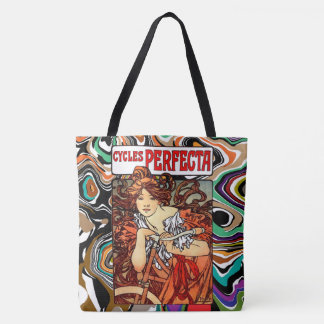 Vintage Art Nouveau Mucha Bicycle Girl Tote Bag