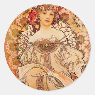 Vintage Art Nouveau Mucha Print Classic Round Sticker