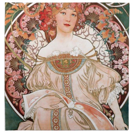 Vintage Art Nouveau Mucha Print Cloth Napkins