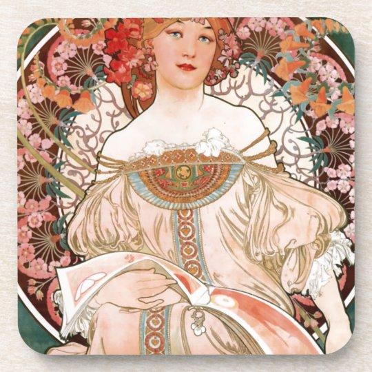 Vintage Art Nouveau Mucha Print Coaster