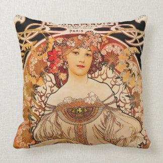 Vintage Art Nouveau Mucha Print Cushion
