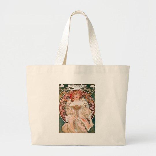 Vintage Art Nouveau Mucha Print Large Tote Bag