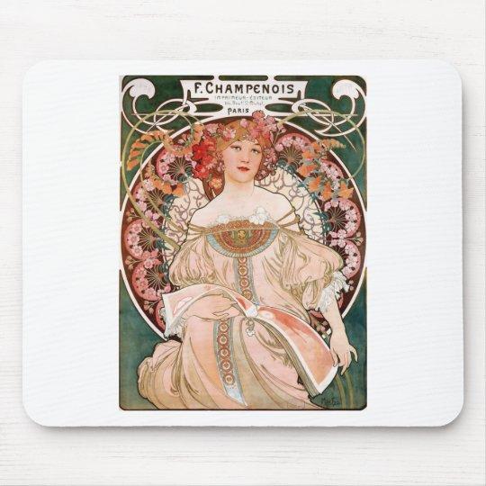 Vintage Art Nouveau Mucha Print Mouse Pad
