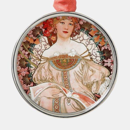 Vintage Art Nouveau Mucha Print Silver-Colored Round Decoration