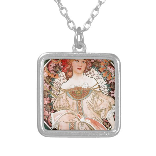 Vintage Art Nouveau Mucha Print Silver Plated Necklace