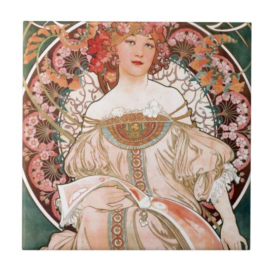 Vintage Art Nouveau Mucha Print Small Square Tile