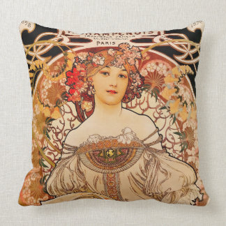 Vintage Art Nouveau Mucha Print Throw Pillow