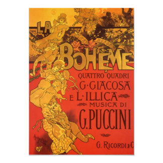Vintage Art Nouveau Music La Boheme Invitation