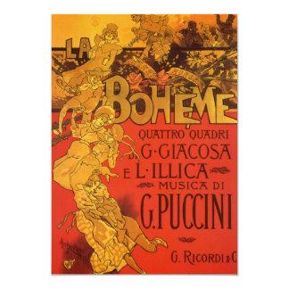 Vintage Art Nouveau Music, La Boheme Opera, 1896 13 Cm X 18 Cm Invitation Card