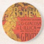 Vintage Art Nouveau Music; La Boheme Opera, 1896 Beverage Coaster