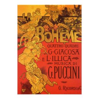 Vintage Art Nouveau Music La Boheme Opera 1896 Personalized Invitation