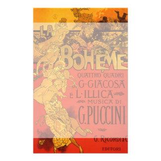 Vintage Art Nouveau Music, La Boheme Opera, 1896 Personalized Stationery