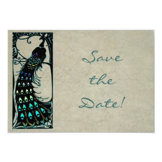 Vintage Art Nouveau Peacock Wedding Save the Date Card