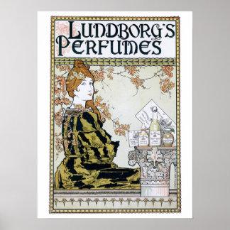 Vintage art nouveau perfume advert poster