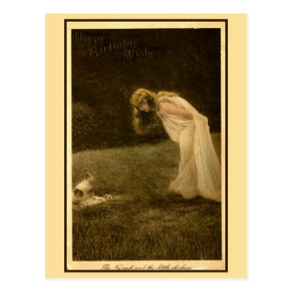vintage art nouveau photo happy birthday, nymph postcard