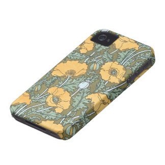 Vintage Art Nouveau, Poppy Flowers in Garden iPhone 4 Covers