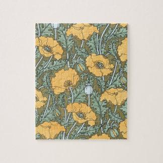Vintage Art Nouveau, Poppy Flowers in Garden Jigsaw Puzzle