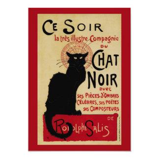 Vintage Art Nouveau Poster; Chat Noir Halloween 13 Cm X 18 Cm Invitation Card