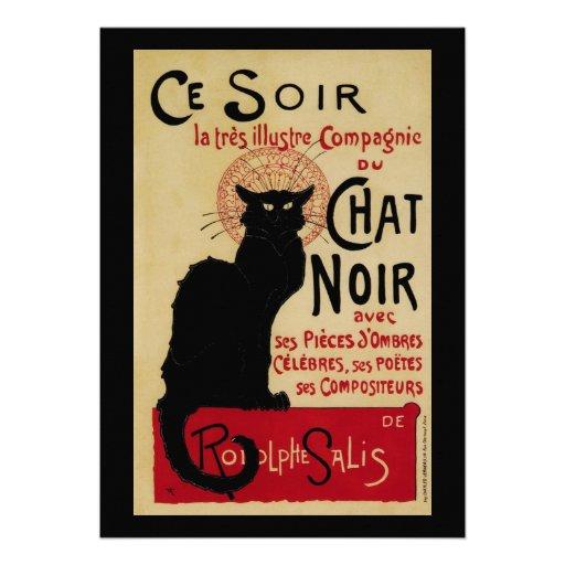Vintage Art Nouveau Poster; Chat Noir Halloween Custom Invites