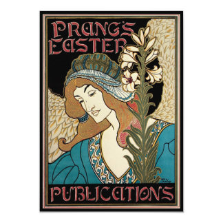 Vintage Art Nouveau, Prangs Easter Publications 13 Cm X 18 Cm Invitation Card