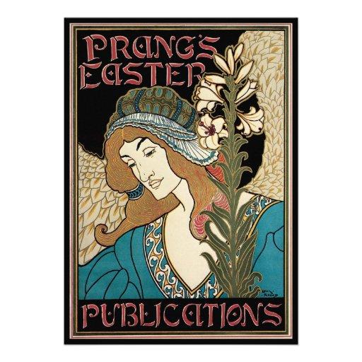 Vintage Art Nouveau, Prangs Easter Publications Custom Invites